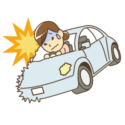 車の交通事故のイラスト