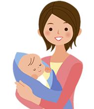 赤ちゃんを抱っこしている笑顔の女性のイラスト