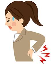 腰痛で悩んでいる女性のイラスト
