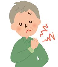 首の痛みで悩んでいる男性のイラスト