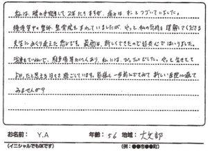 横須賀市大矢部 腰痛 50代 Y.Aさん