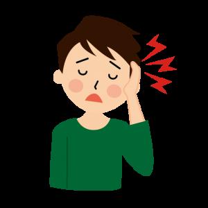 頭痛で悩んでいる男性のイラスト